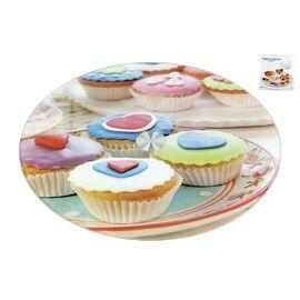 """Вращающаяся подставка для торта и десертов (тортовница) """"Кексы"""" Коралл 3200-2"""