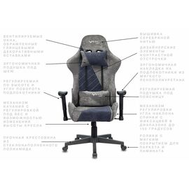 Игровое кресло Бюрократ VIKING X Fabric White-Blue (1428212) фото, изображение 18