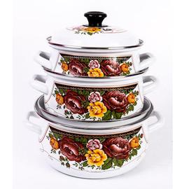 """Набор посуды эмалированной 6 предметов """"Розы-1"""""""