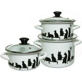 Набор посуды эмалированной 6 предметов КМК Кошечки 5-1 Экстра фото