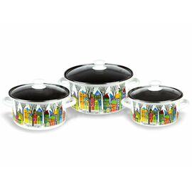 Набор посуды эмалированной 6 предметов КМЗ Домики 1 Экстра фото