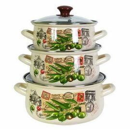 Набор посуды эмалированной 6 предметов КМЗ Римские каникулы Экстра фото