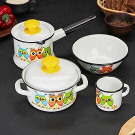 Набор посуды эмалированный детский КМЗ Совушки фото