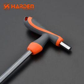 Профессиональный T-образный 6-тигранный ключ с плавающей головкой 8х200мм HARDEN 55758/540707, изображение 2