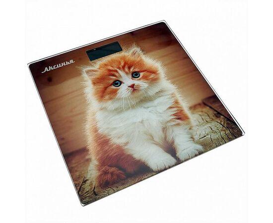 Весы напольные электронные Аксинья КС-6000 Рыжий кот фото
