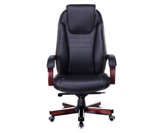 Офисное кресло руководителя Бюрократ T-9923WALNUT/BLACK кожа+дерево (1115302) фото