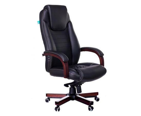 Офисное кресло руководителя Бюрократ T-9923WALNUT/BLACK кожа+дерево (1115302) фото, изображение 2