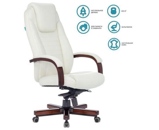 Офисное кресло руководителя Бюрократ T-9923WALNUT/IVORY кожа/дерево фото, изображение 2