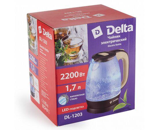 Эл.чайник DELTA DL-1203 коричневый/бежевый фото, изображение 2