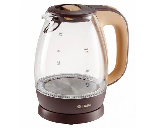 Эл.чайник DELTA DL-1203 коричневый/бежевый фото