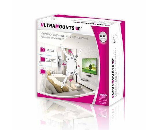 """Кронштейн """"Ultramounts"""" UM864W белый Наклонно -поворотный 13-43 фото, изображение 2"""