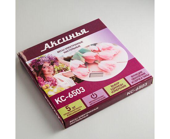 Весы кухонные Аксинья КС-6503 Розовые тюльпаны фото, изображение 2