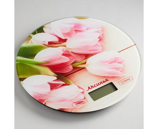 Весы кухонные Аксинья КС-6503 Розовые тюльпаны фото